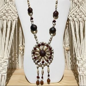 ⭐️ Vintage Long Statement Necklace Shells Beaded